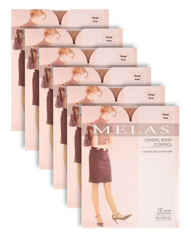 Crystal Sheer Conrol Pantyhose - 12 Denier - 6 Pack