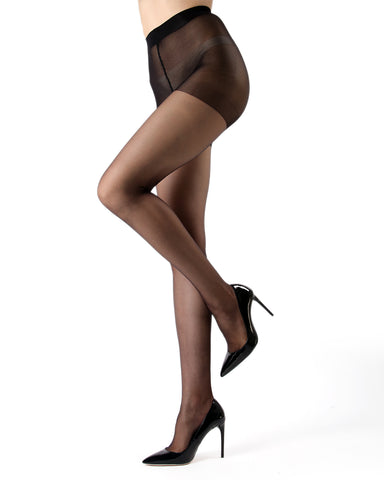 Crystal Sheer Control Top Pantyhose | womens sheer tights by MeMoi | womens clothing MM-300-Blk