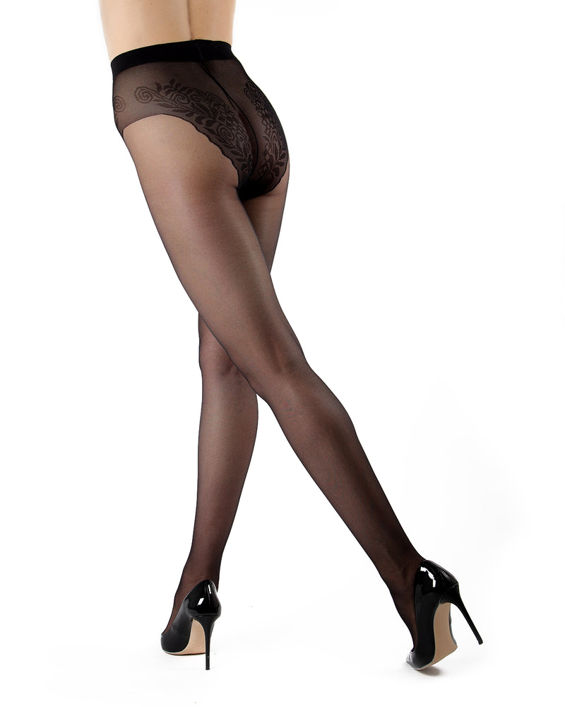 Levante Women's Sheer Tights with Built-in Bikini Brief