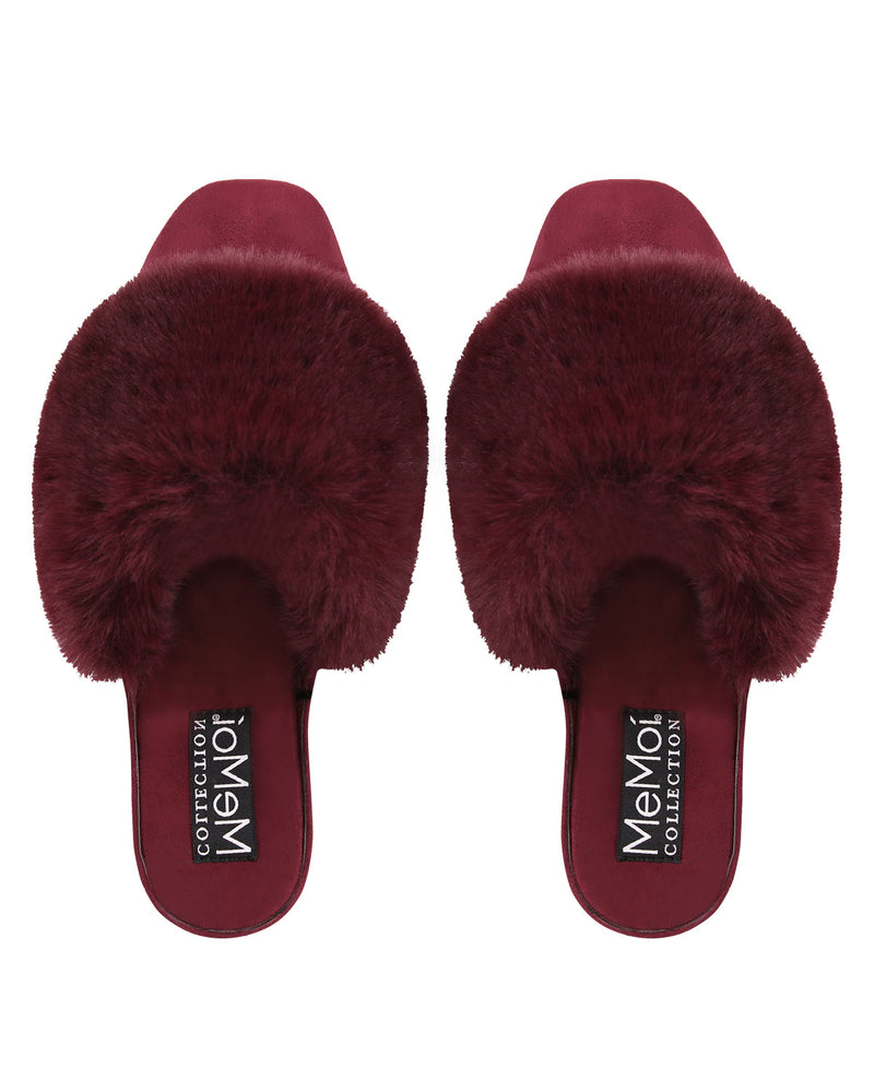 The Iris Wedge | Slip-on style slippers by Memoi | Burgundy CSL05260 - 2