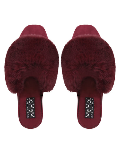 The Iris Wedge | Slip-on style slippers by Memoi | Burgundy CSL05260 - Soft