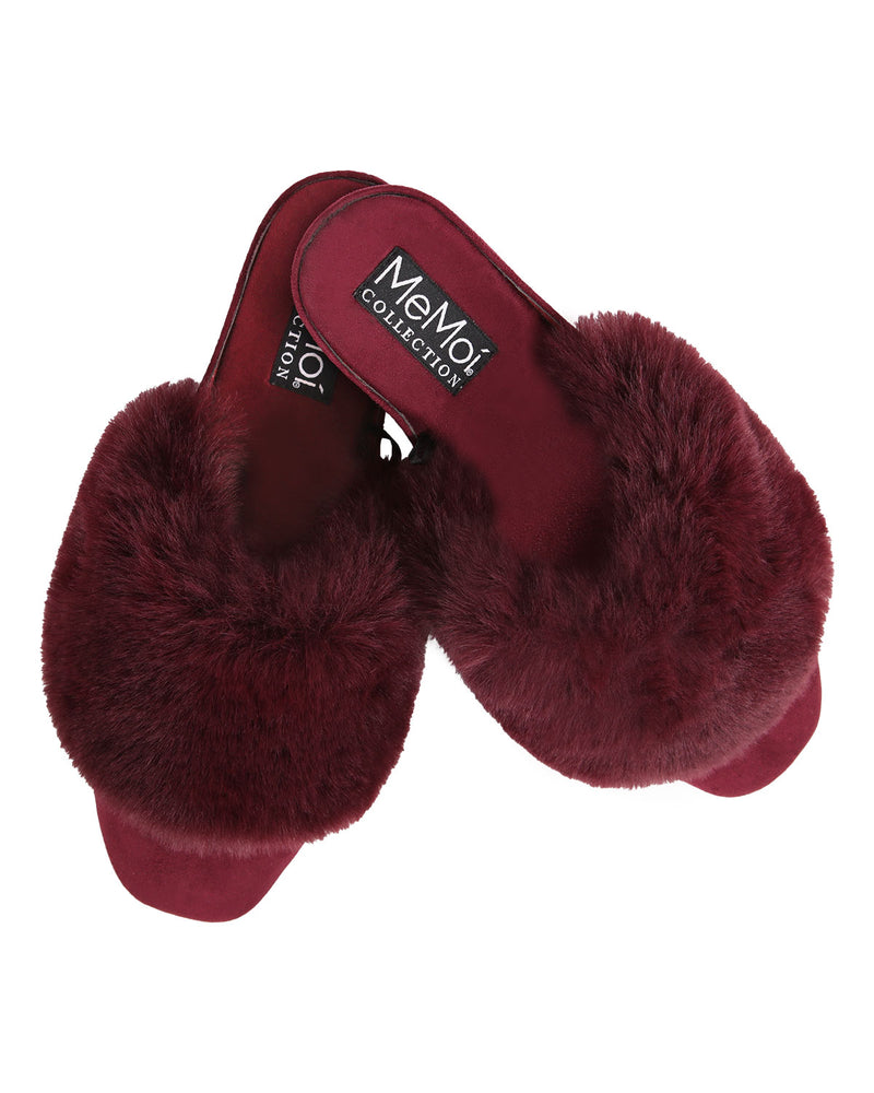The Iris Wedge | Slip-on style slippers by Memoi | Burgundy CSL05260 -3