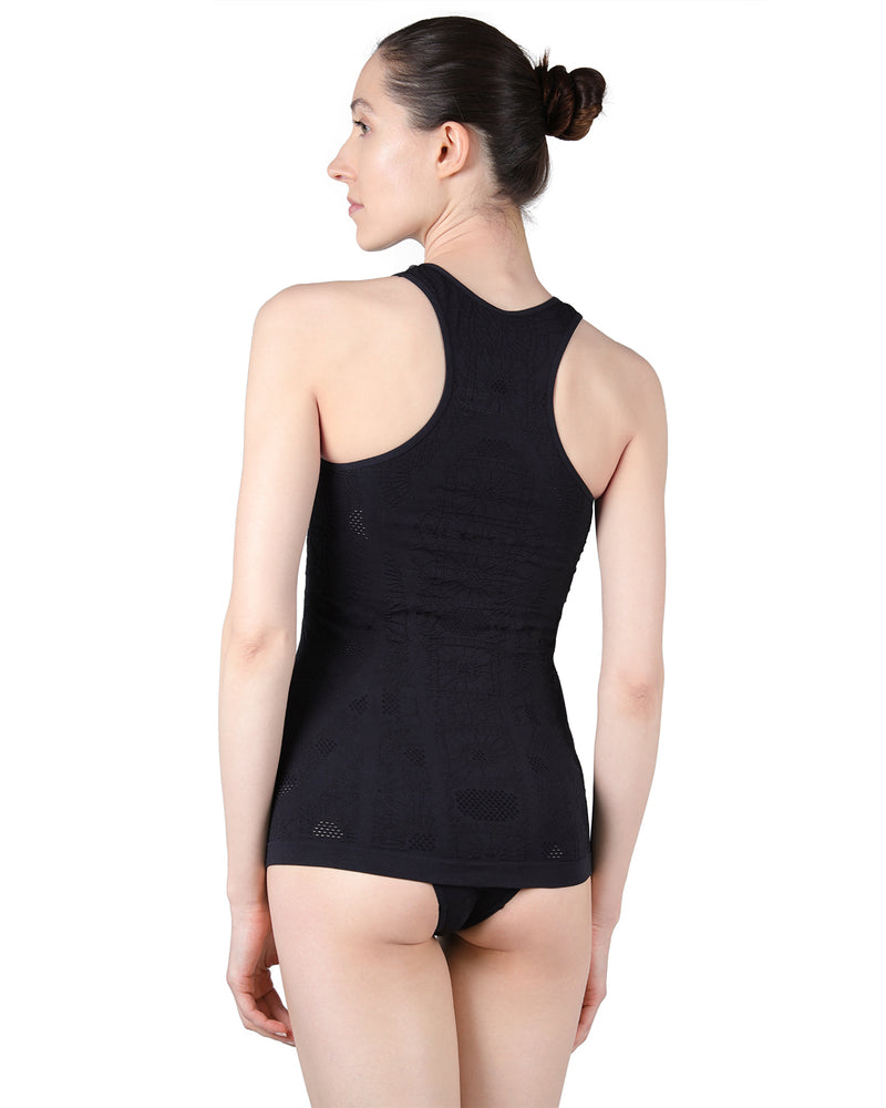 Seamless camisole |  MeMoi Rosa Collection | (Back) Women's Racerback Cami tank top | Limo Black CCA00123
