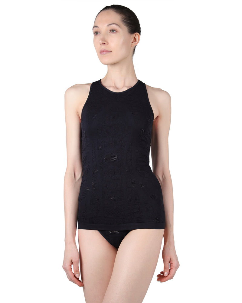 Seamless camisole |  MeMoi Rosa Collection | (Front) Women's Racerback Cami tank top | Limo Black CCA00123