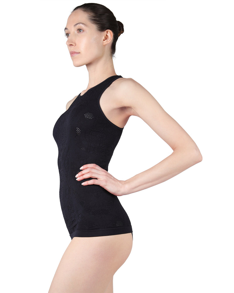 Seamless camisole |  MeMoi Rosa Collection | (Side) Women's Racerback Cami tank top | Limo Black CCA00123