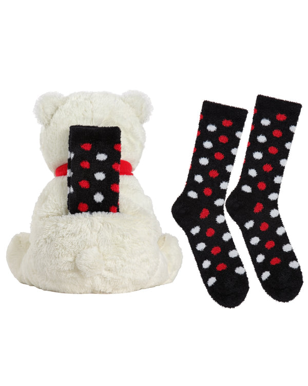 MeMoi Cozy Buddies Bear | Stuffed Animals & Plush Toys w/ Socks (rear) | Bear CCB00164