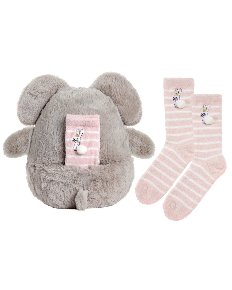 MeMoi Cozy Buddies Bunny | Stuffed Animals & Plush Toys w/ Bunny Socks (rear) | Rabbit CCB00165