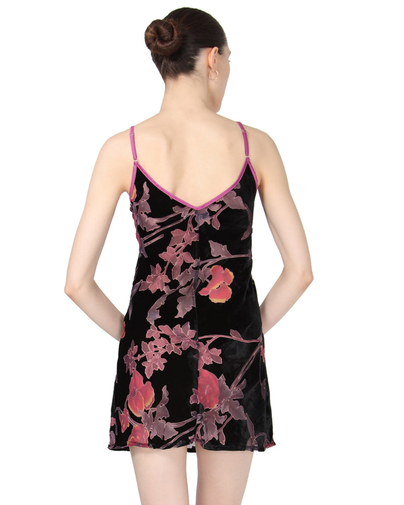 MeMoi Velvet Burnout Chemise | Women's Chemise Collection (Rear) | Designer - Asi Efros | Black CCS00070