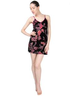 MeMoi Velvet Burnout Chemise | Women's Chemise Collection | Designer - Asi Efros | Black CCS00070