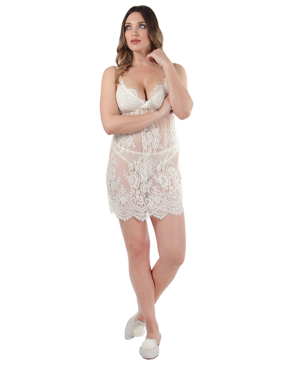 Eyelash and Scalloped Lace Chemise
