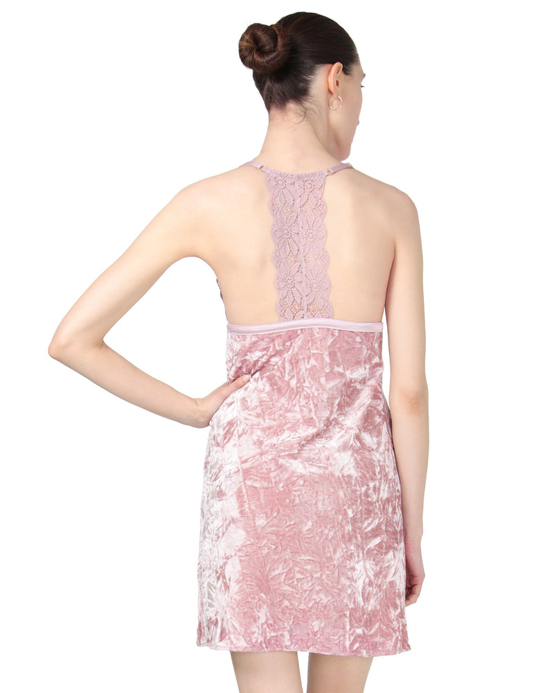 MeMoi Crushed Velvet Chemise | Women's Chemise Collection Rear) | Designer - Asi Efros |  Rose CCS00144