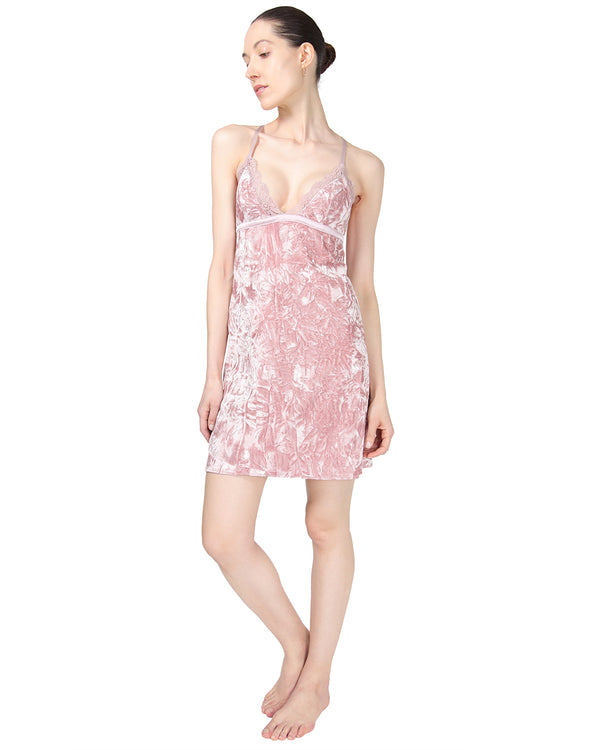 MeMoi Crushed Velvet Chemise | Women's Chemise Collection | Designer - Asi Efros |  Rose CCS00144