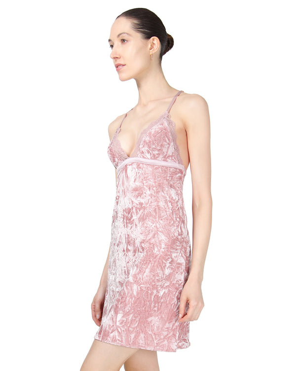 MeMoi Crushed Velvet Chemise | Women's Chemise Collection (Side) | Designer - Asi Efros |  Rose CCS00144