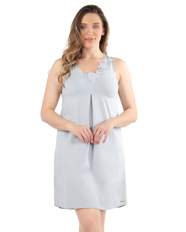 Floral Lace Chemise | MeMoi Womens Sleepwear Collection | Pajamas for Women | Pearl Blue CCS04479 - 2