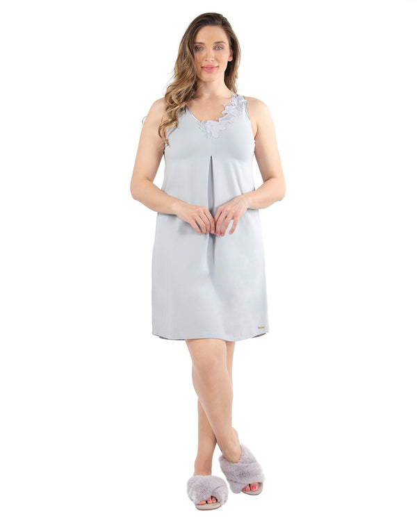 Floral Lace Chemise | MeMoi Womens Sleepwear Collection | Pajamas for Women | Pearl Blue CCS04479 - 1