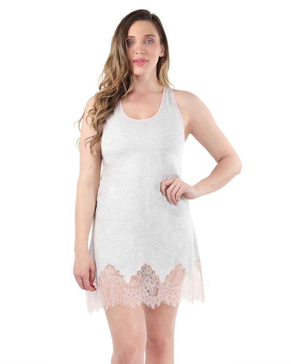 Racerback Lace Trim Chemise | MeMoi Womens Sleepwear Collection | Lace Chemise | LT Gray Heather CCS04483 - 2