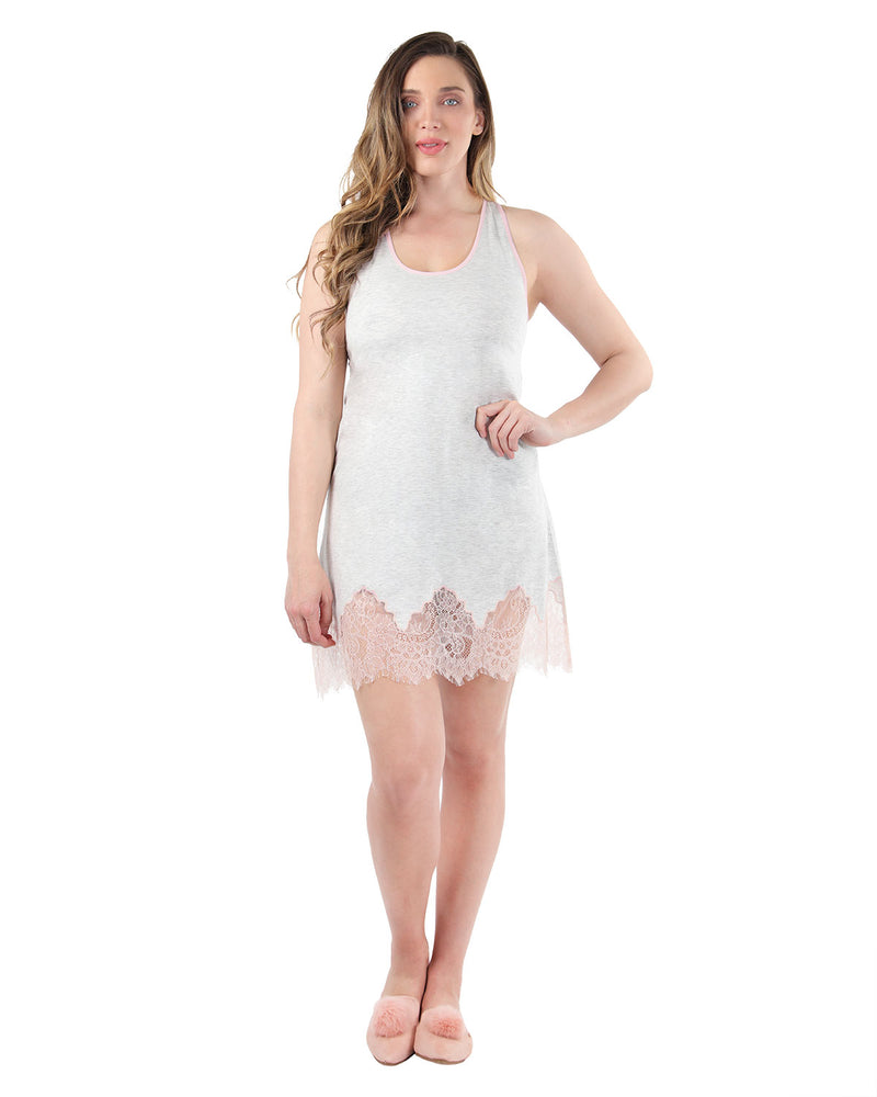 MeMoi Collection Racerback Lace Trim Chemise