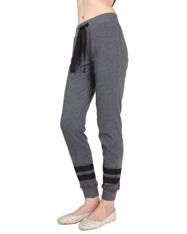 MeMoi Jogger Pants w/ Contrast Ribbon Stripes | Women's Loungewear Collection (Side) | Designer - Asi Efros |  Charcoal CLP00042