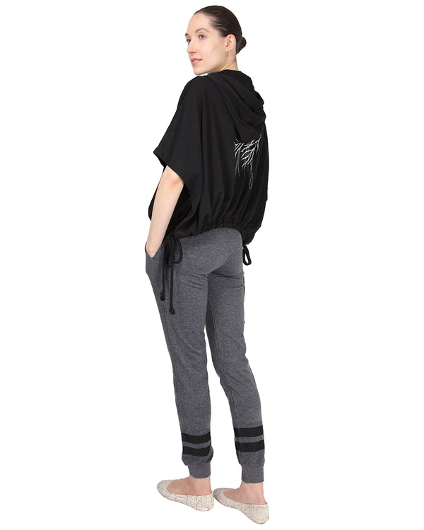 MeMoi Jogger Pants w/ Contrast Ribbon Stripes | Women's Loungewear Collection | Designer - Asi Efros |  Charcoal CLP00042