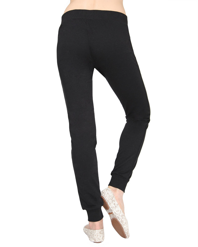 MeMoi Jogger Pants w/ Ribbed Waistband | Women's Loungewear Collection (Rear) | Designer - Asi Efros |  Limo Black CLP00044