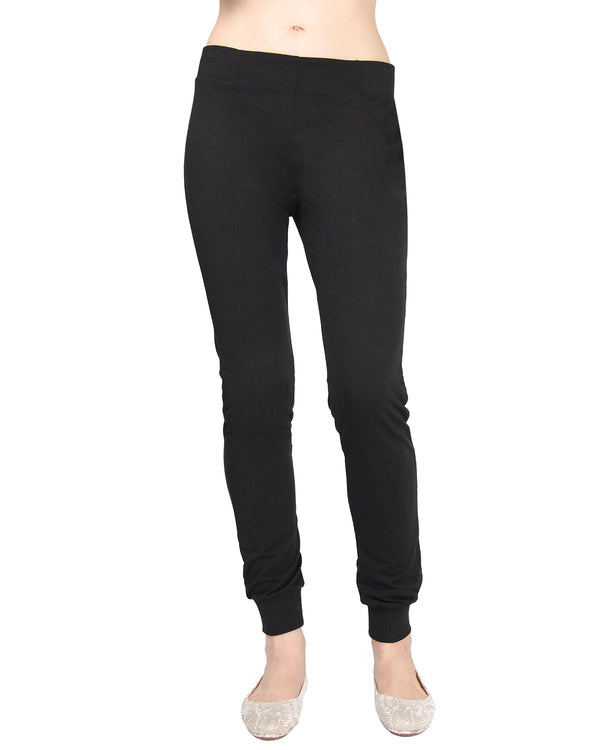 MeMoi Jogger Pants w/ Ribbed Waistband | Women's Loungewear Collection (Front) | Designer - Asi Efros |  Limo Black CLP00044