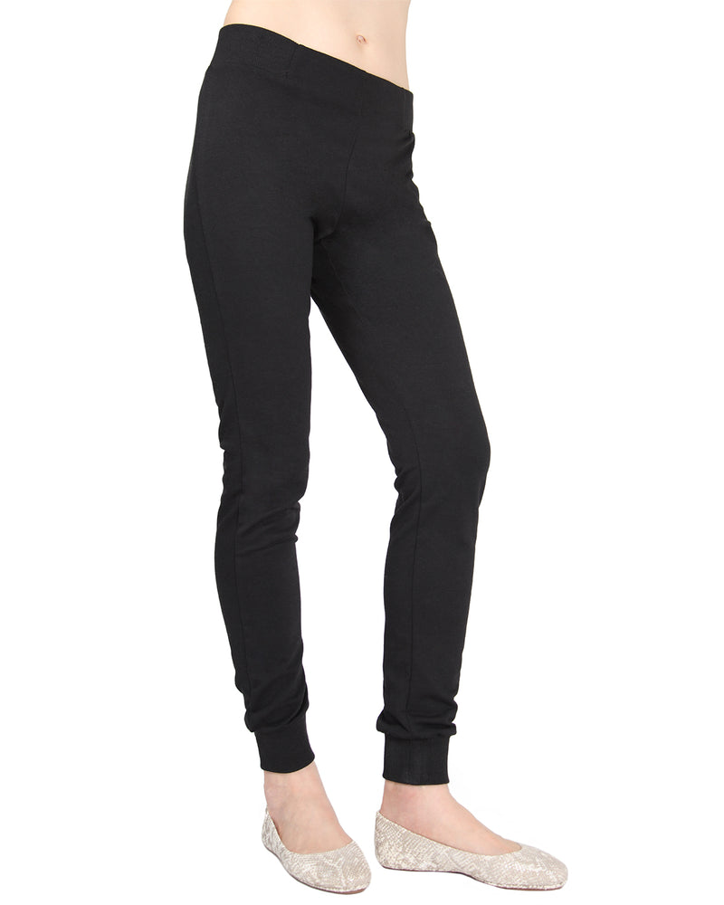 MeMoi Jogger Pants w/ Ribbed Waistband | Women's Loungewear Collection (Side) | Designer - Asi Efros |  Limo Black CLP00044