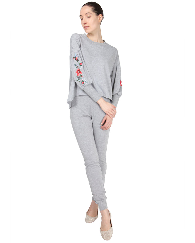 MeMoi Jogger Pants w/ Ribbed Waistband | Women's Loungewear Collection (Front) | Designer - Asi Efros |  Gray Heather CLP00044
