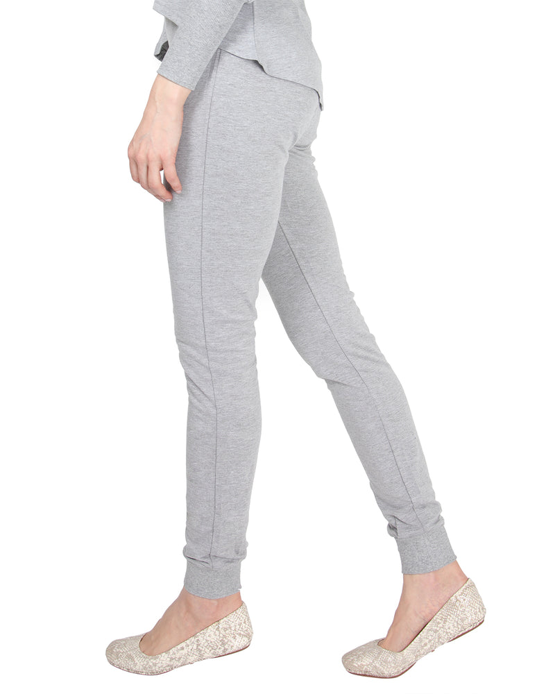 MeMoi Jogger Pants w/ Ribbed Waistband | Women's Loungewear Collection (Side2) | Designer - Asi Efros |  Gray Heather CLP00044