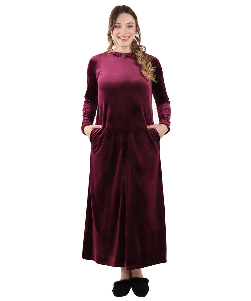 Velour Ruched Neck Lounger Gown | Full length Lounger Gown by MeMoi | Burgundy CLR05633
