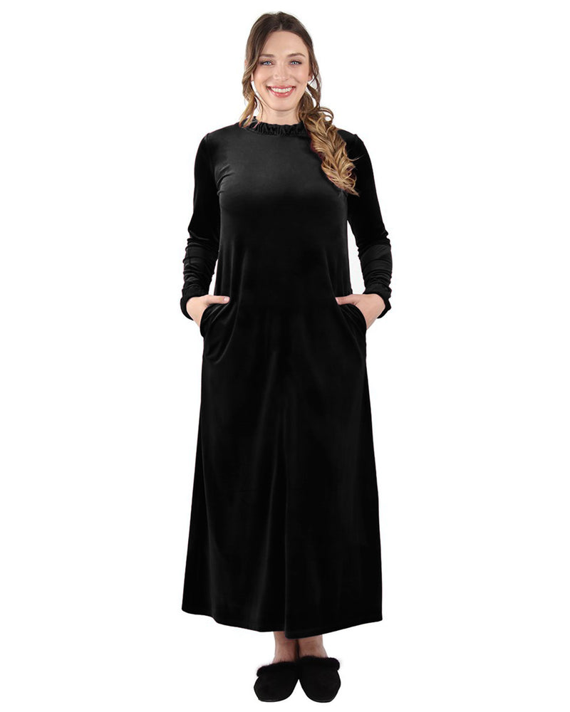 Velour Ruched Neck Lounger Gown