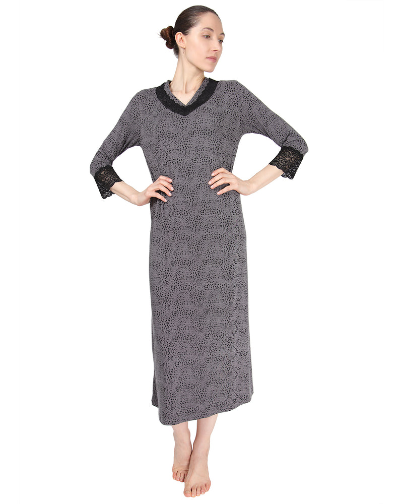 MeMoi Three Quarter Sleeve Gown w/ Lace Trim | Women's Nightgown Collection | Designer - Asi Efros | Animal Print CNG00040