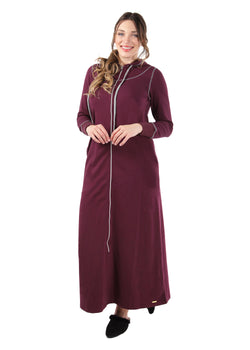 Hooded Night Gown with Front Zip