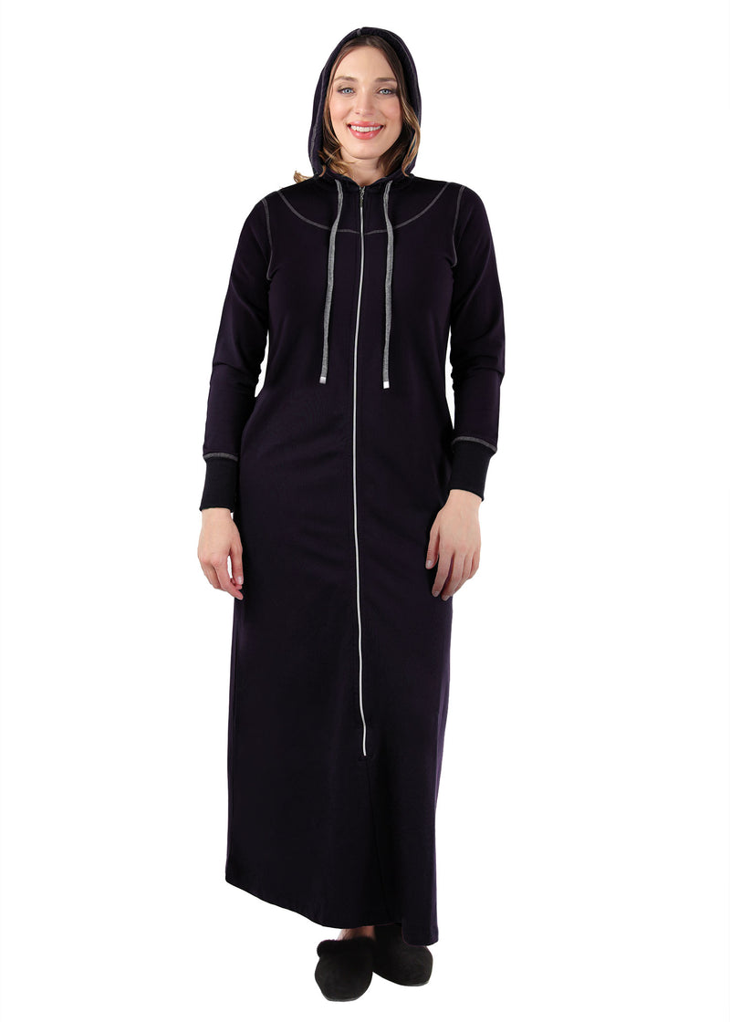 MeMoi Collection Hooded Night Gown with Front Zip