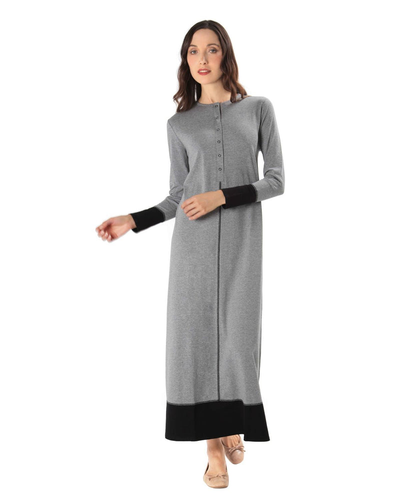 MeMoi Color Blocked Nightgown | Women's Sleepwear and Loungewear (front2) | Heather Gray CNL00152