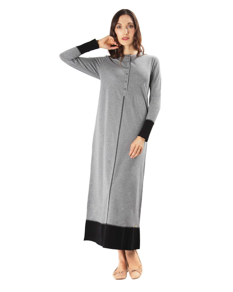 MeMoi Color Blocked Nightgown | Women's Sleepwear and Loungewear (front) | Heather Gray CNL00152