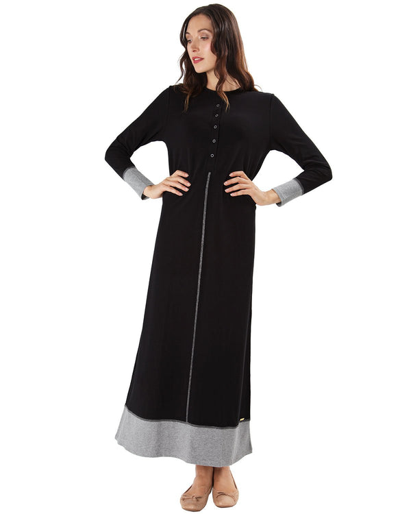 MeMoi Color Blocked Nightgown | Women's Sleepwear and Loungewear (front) | Black CNL00152