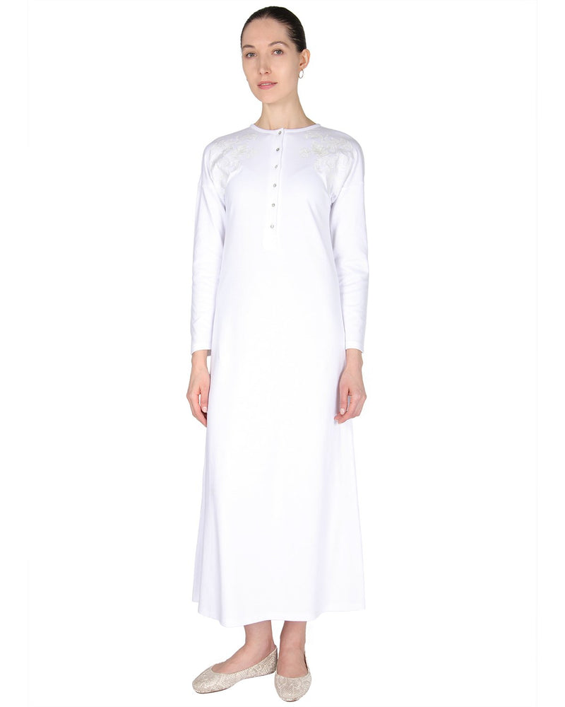 MeMoi Nightgown with Floral Motif | Women's Sleepwear and Loungewear (front) | White CNL00154