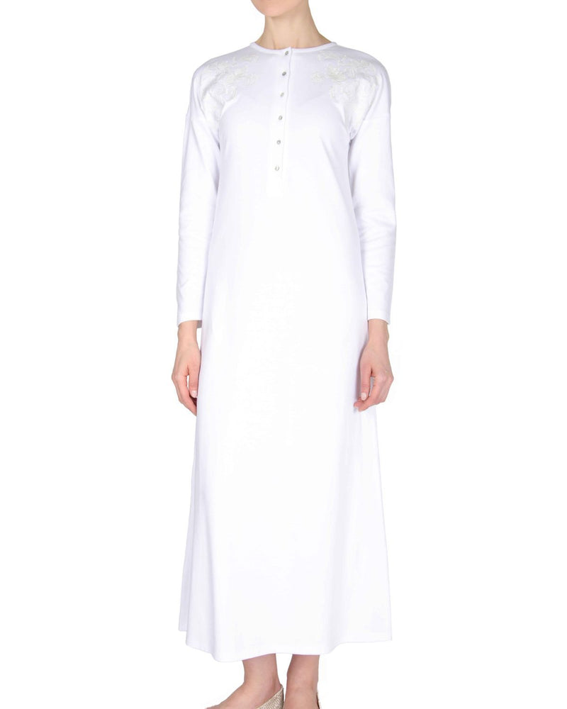 MeMoi Nightgown with Floral Motif | Women's Sleepwear and Loungewear (front2) | White CNL00154