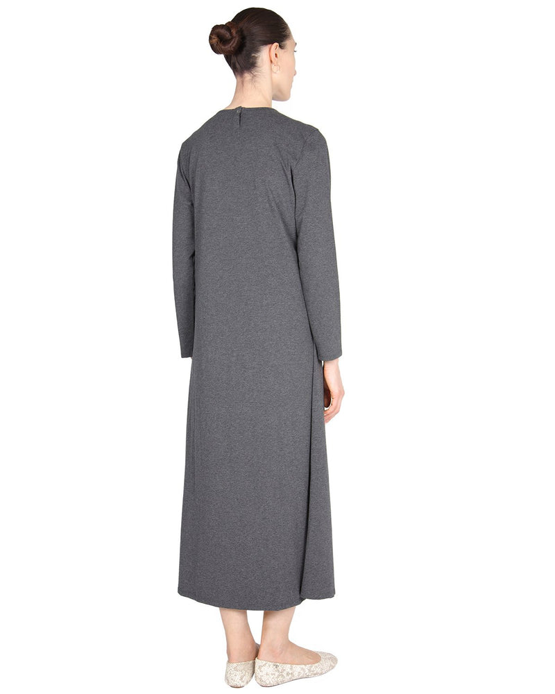 MeMoi Lace Trim Nursing Gown | Women's Sleepwear and Loungewear (rear) | Heather Charcoal CNL00155