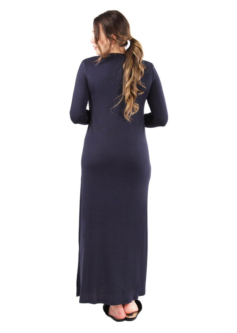 Over the Head Gown with Velvet Trim