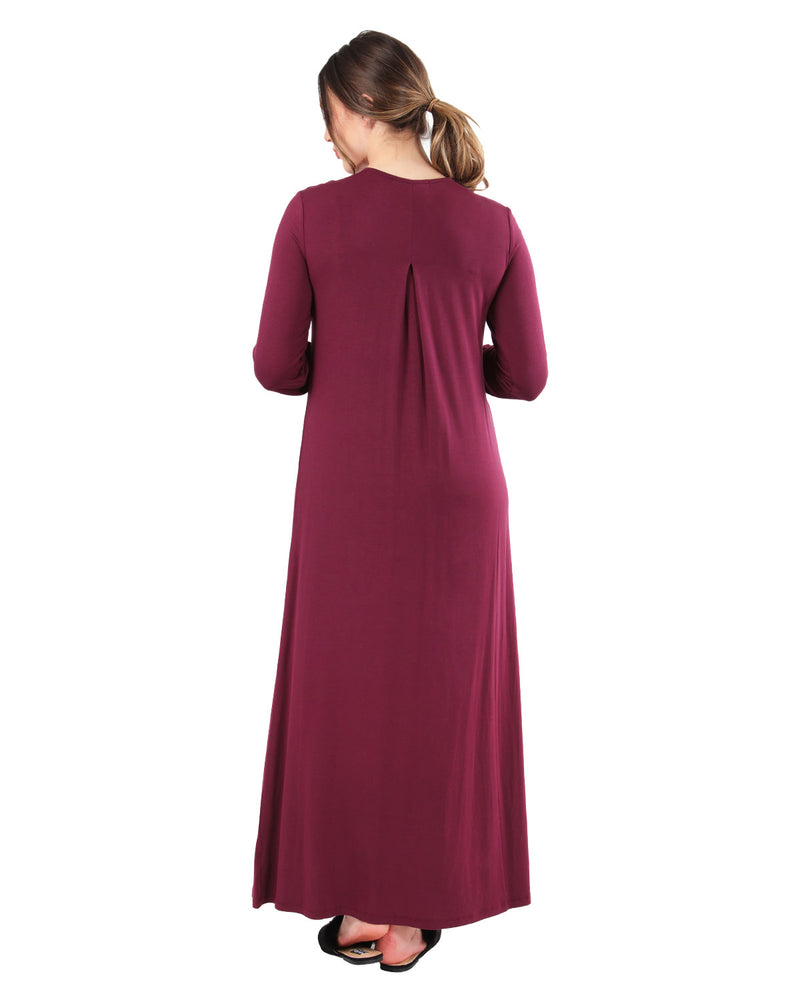 MeMoi Collection Aubergine Cozy Lace Trim Gown
