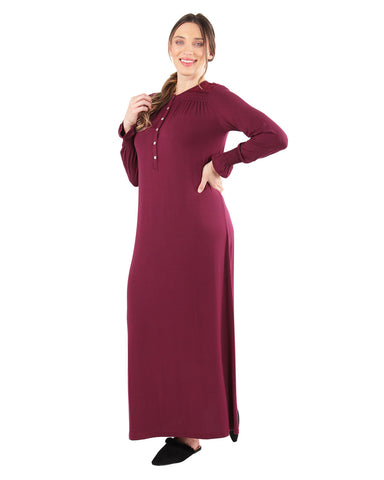 Lace Trim Gown | MeMoi womens sleeperwear collection | Pajamas for Women | womens clothing | Aubergine CNL04367