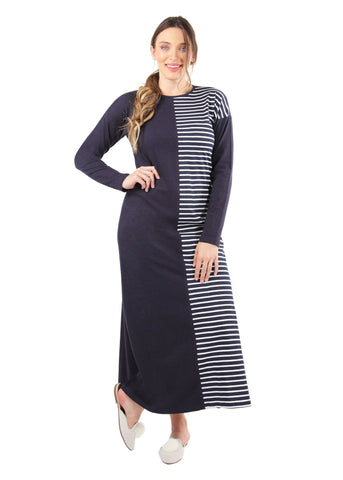 Breton Stripe Two Tone Gown | MeMoi womens sleepwear collection | Pajamas for Women | womens clothing |  Blue Heather CNL04457