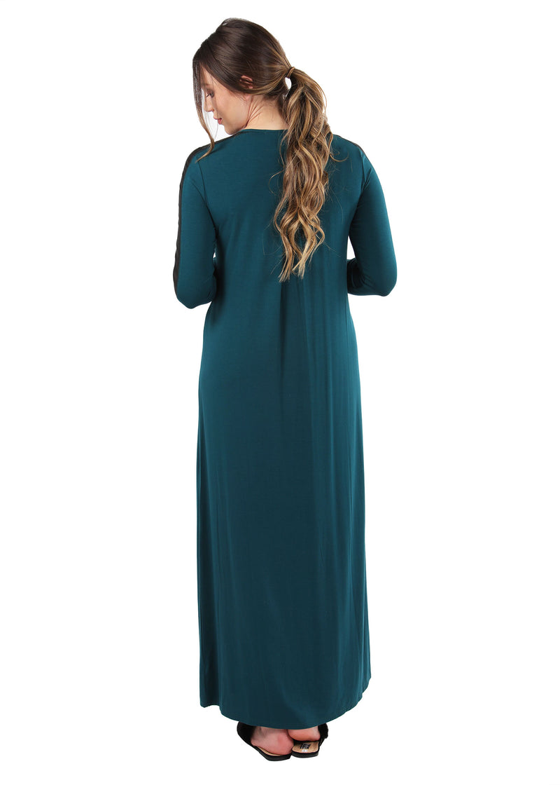 Satin Trim Gown | MeMoi womens sleeperwear collection | Pajamas for Women | womens clothing |  Hunter Green CNL04516 -4