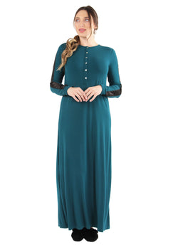 Satin Trim Gown | MeMoi womens sleeperwear collection | Pajamas for Women | womens clothing |  Hunter Green CNL04516