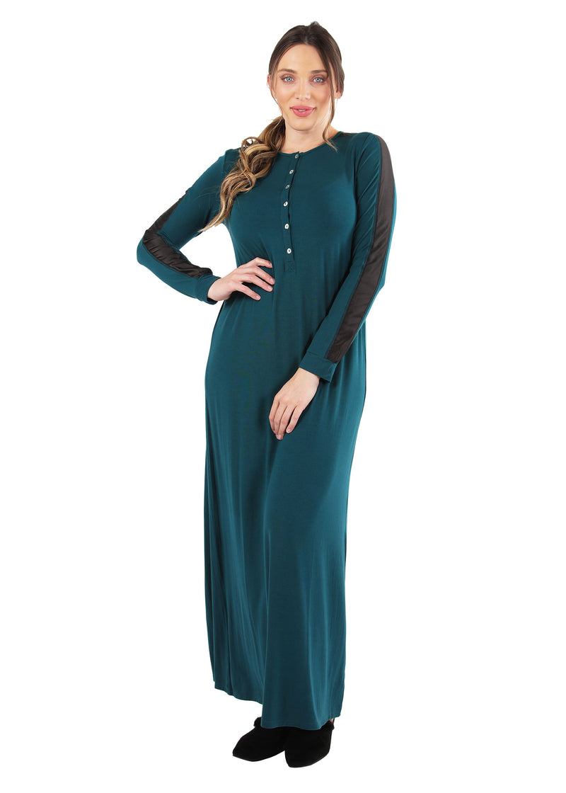 Satin Trim Gown | MeMoi womens sleeperwear collection | Pajamas for Women | womens clothing |  Hunter Green CNL04516 -2