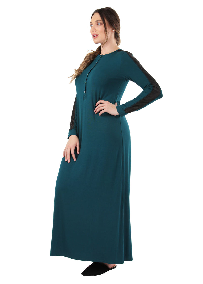 Satin Trim Gown | MeMoi womens sleeperwear collection | Pajamas for Women | womens clothing |  Hunter Green CNL04516 -3