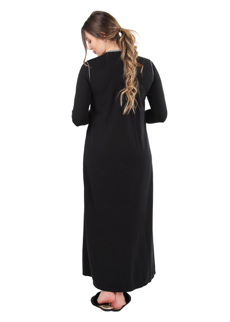 Iris Contrast Gown | MeMoi womens sleepwear collection | Pajamas for Women | womens clothing |  Black CNL04665 -2