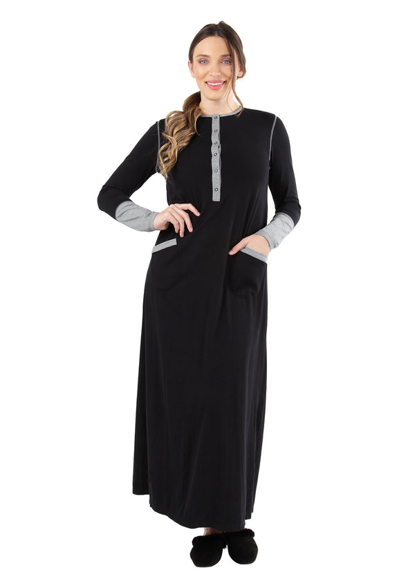 Iris Contrast Gown | MeMoi womens sleepwear collection | Pajamas for Women | womens clothing |  Black CNL04665