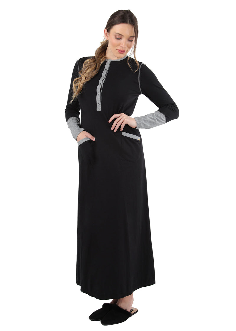 Iris Contrast Gown | MeMoi womens sleepwear collection | Pajamas for Women | womens clothing |  Black CNL04665 -3